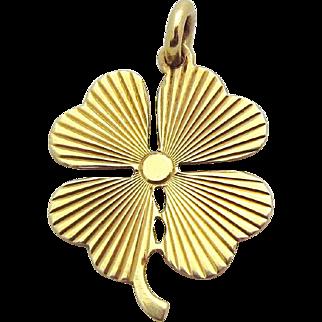 Vintage 14K Gold Lucky 4 *Four Leaf Clover* Good Luck Charm Pendant