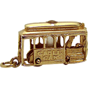 Vintage 14K Gold 3D Movable San Francisco Cable Car Trolley Charm w/Stanhope