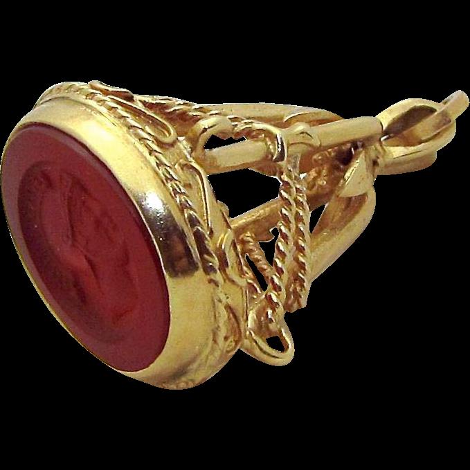 Vintage Art Deco 10K Gold Carnelian Intaglio Seal Fob Charm Pendant 5.3 grams
