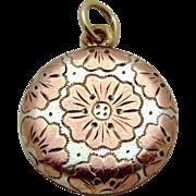 Antique Art Nouveau 10K White & Rose Gold Primrose Flower Fob Charm/Pendant