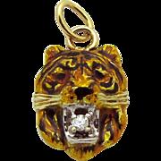 Antique Art Nouveau 14K Gold Enameled Tiger Charm with Diamond