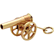 Vintage 10K Gold 3D Movable *Civil War Cannon* Charm Carl-Art 1940s