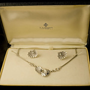 Vintage Sterling Silver Necklace And Earrings