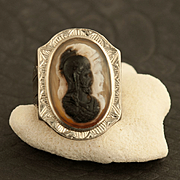Vintage Art Deco 10 Karat White Gold And Onyx Double Face Cameo Ring