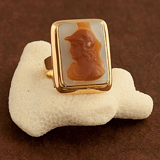 Antique Victorian 14 Karat Gold Agate Cameo Of Minerva