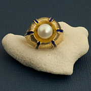 Vintage 14 Karat Gold Enamel Cultured Pearl Ring