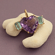 Vintage Amethyst And Topaz Heart Pendant