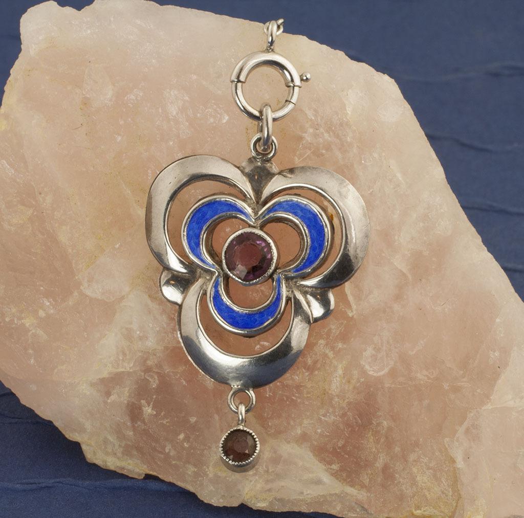 Vintage Art Nouveau Sterling Silver Amethyst Necklace