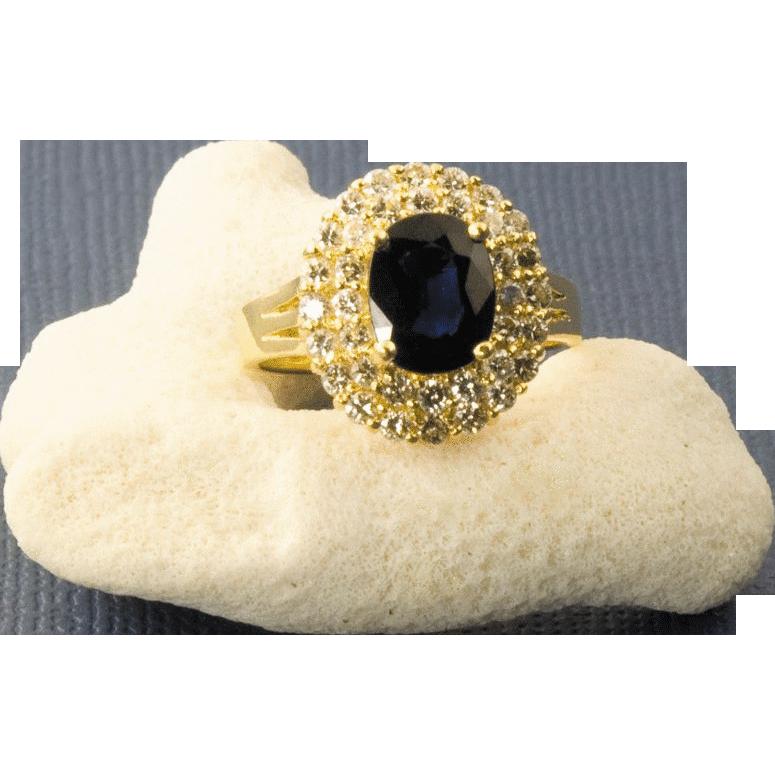 Vintage 18 Karat Gold Sapphire And Diamond Ring from 24kgreen on Ruby Lane
