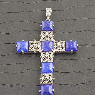 Vintage Sterling Silver Lapis Lazuli And Marcasite Cross
