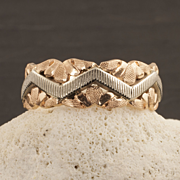 Vintage 14 Karat Rose And White Gold Band
