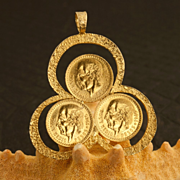 Mexican 22 Karat Gold Coin Pendant With Three 1945 2 1/2 Pesos Coins