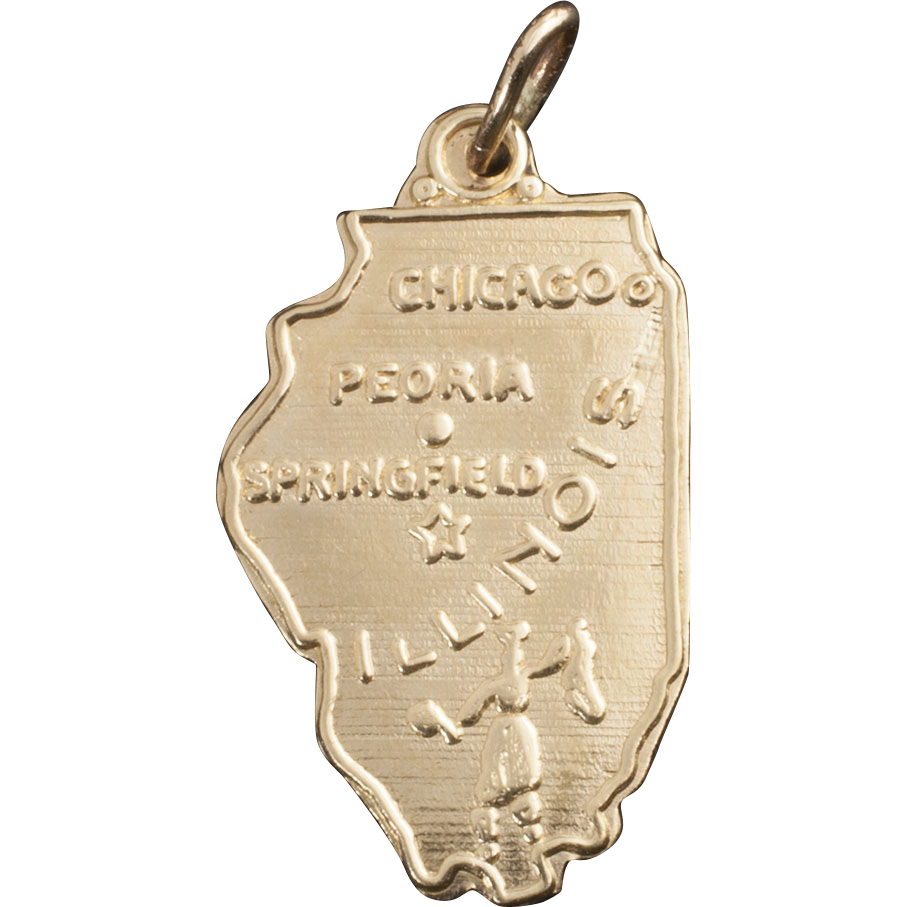 Vintage 14 karat gold charm of illinois from 24kgreen on for Best place to sell gold jewelry in chicago