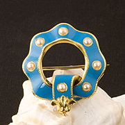 Antique Victorian 18 Karat Gold, Blue Enamel And Natural Pearl Pin