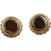 Antique Victorian 14 Karat Gold Banded Agate Earrings