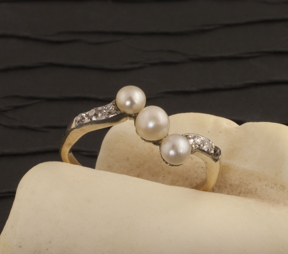 Antique Victorian 18 Karat Gold Pearl and Diamond Ring
