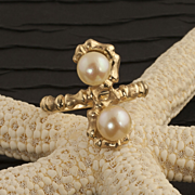 Vintage 14 Karat Gold Cultured Pearl Ring