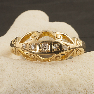 Vintage 18 Karat Gold And Diamond Ring, Circa 1916
