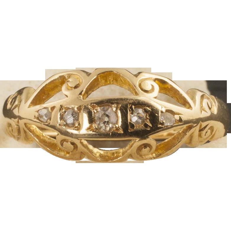 Vintage 18 Karat Gold And Diamond Ring Circa 1916 from 24kgreen on Ruby Lane