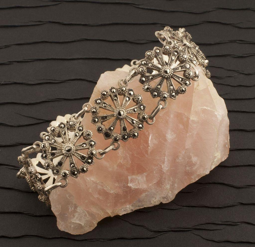 Vintage 835 Silver Marcasite Bracelet