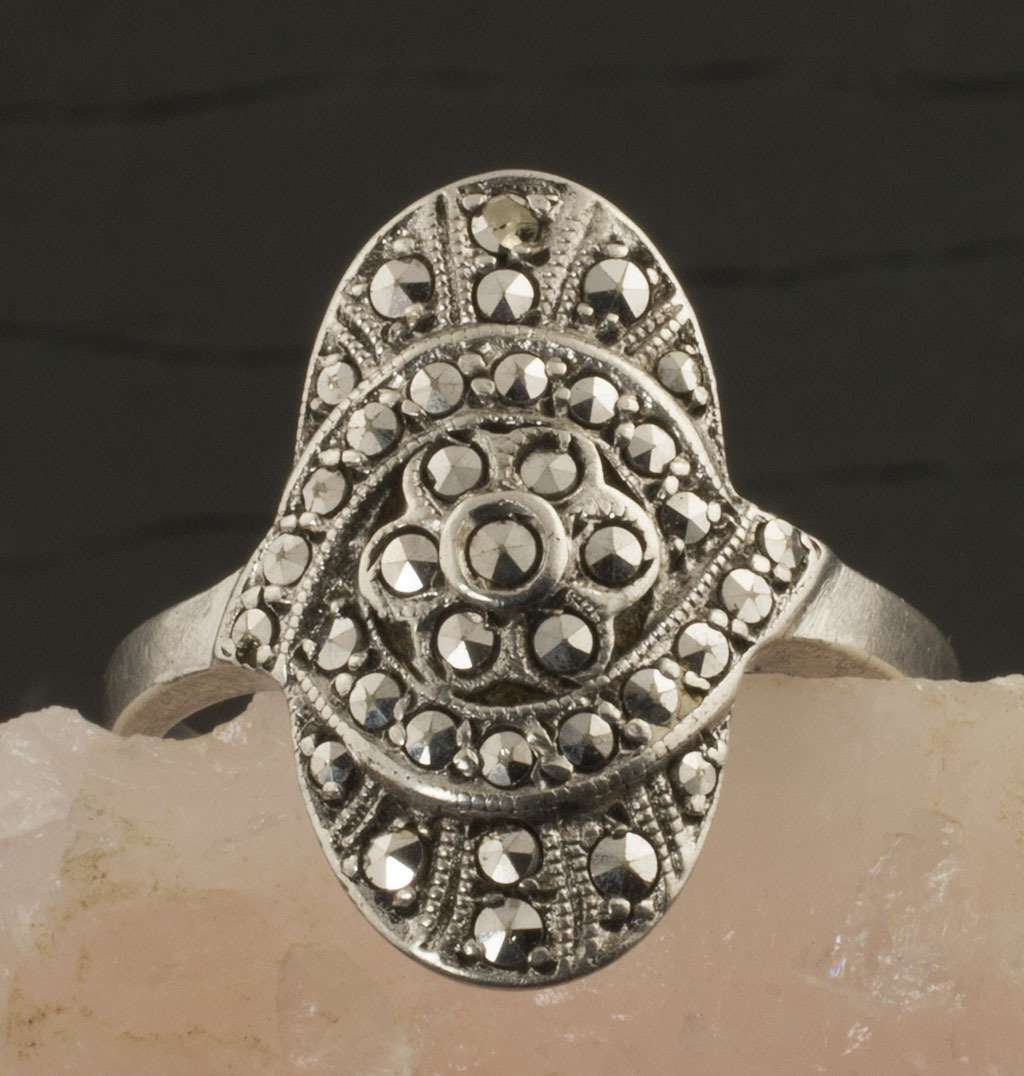Vintage Art Deco 800 Silver Marcasite Ring