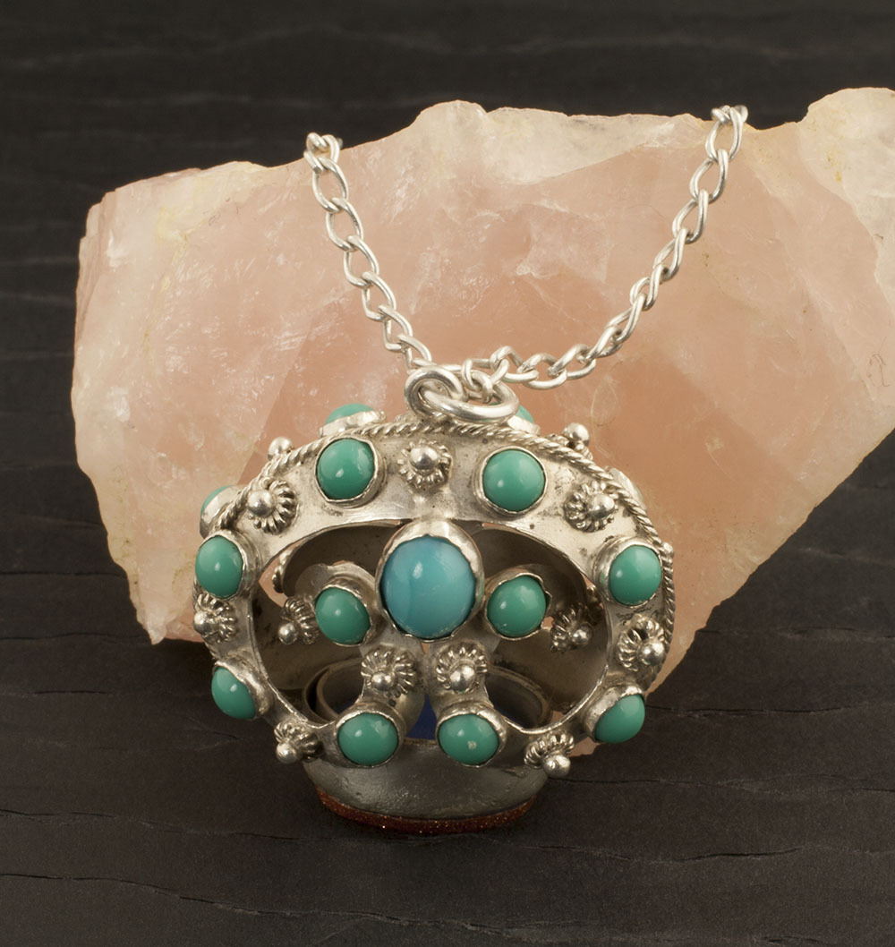 Vintage Sterling Silver,  Turquoise Glass And Gold Stone Glass Necklace