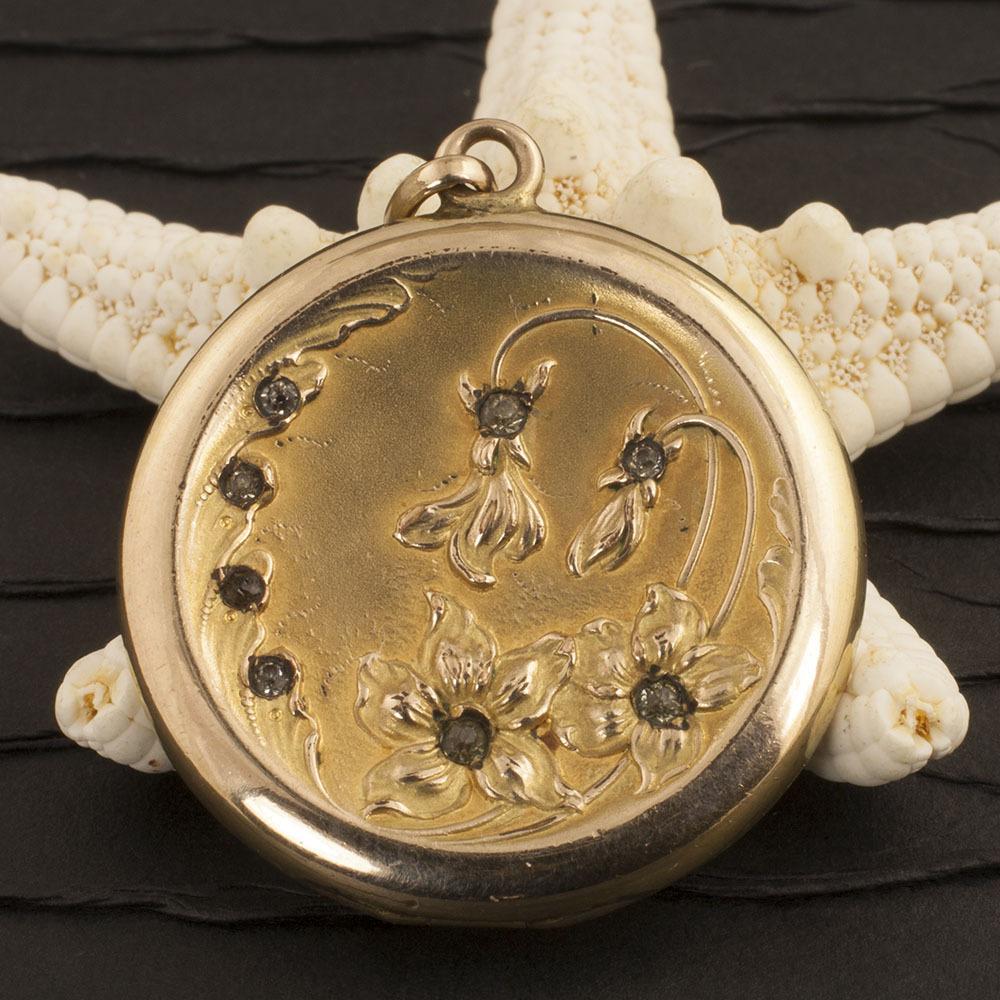 Vintage Art Nouveau Gold Filled Locket With Lilies