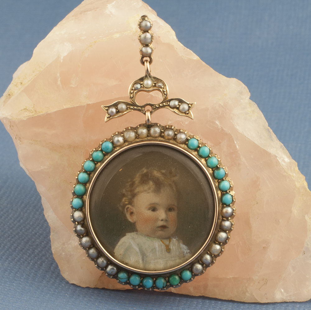 Victorian Turquoise And Pearl Pendant With Image of Child