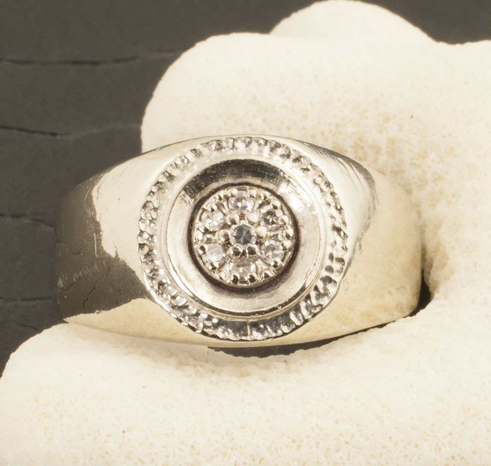 Vintage Art Deco 10 Karat Gold Diamond Cluster Ring