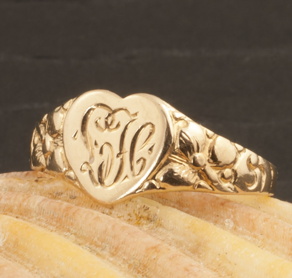 Vintage 14 Karat Gold Heart Shaped Monogrammed Ring
