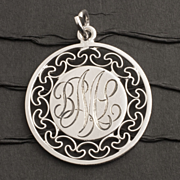 Vintage Sterling Silver Monogram Pendant