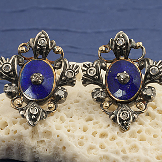 Antique Georgian 18 Karat Gold Enamel And Diamond Earrings