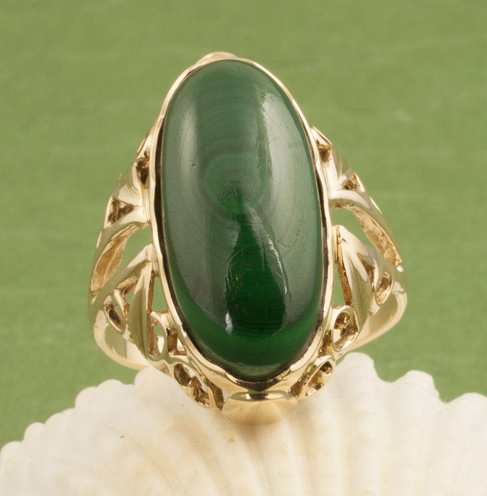 Vintage 14 Karat Gold Malachite Ring