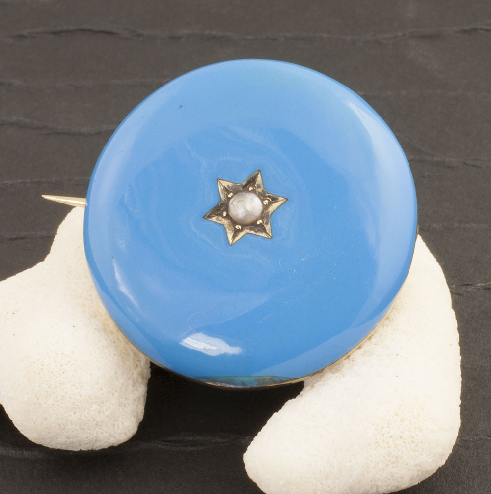 Antique Victorian 14 Karat Gold, Blue Enamel And Pearl Pin/Pendant