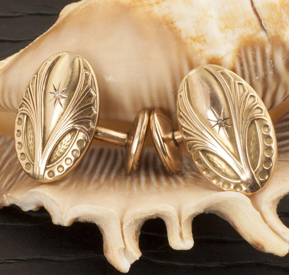 Vintage Edwardian 10 Karat Gold Cuff Links