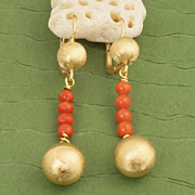 Vintage 18 Karat Gold Coral Earrings
