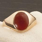 Vintage Art Deco 10 Karat Carnelian Ring