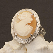 Vintage Art Deco Sterling Silver Cameo Ring
