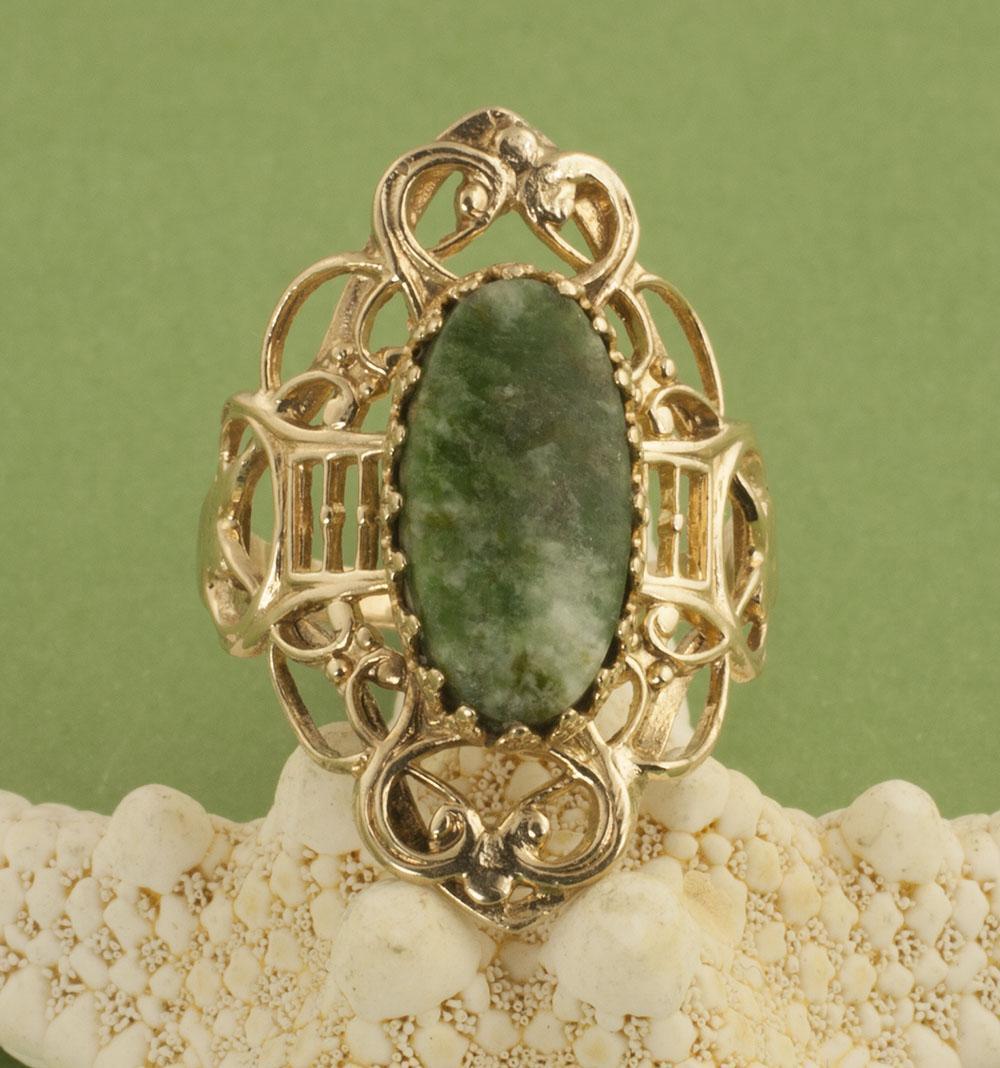 Vintage 10 Karat Gold Nephrite Jade Ring