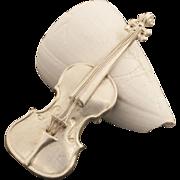 Vintage Sterling Silver Violin or Cello Pin