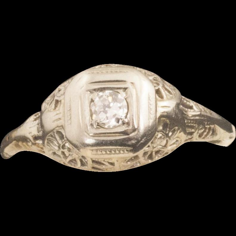 Antique Edwardian 18 Karat Gold Diamond Ring from 24kgreen on Ruby Lane