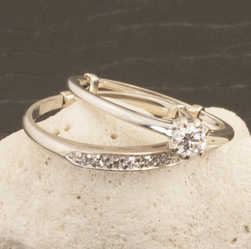 Vintage 14 Karat Gold Diamond Wedding Ring Set