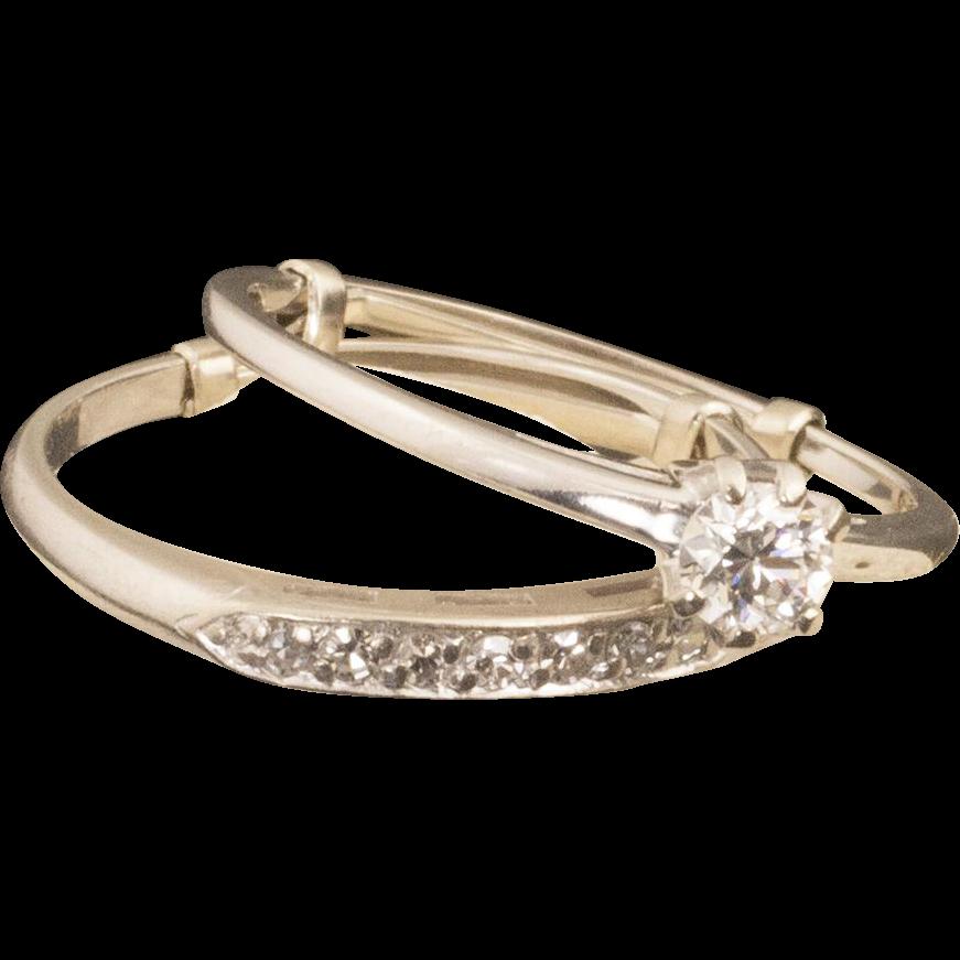Vintage 14 Karat Gold Diamond Wedding Ring Set from 24kgreen on Ruby Lane