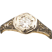 Antique Edwardian 14 Karat Gold Diamond Ring