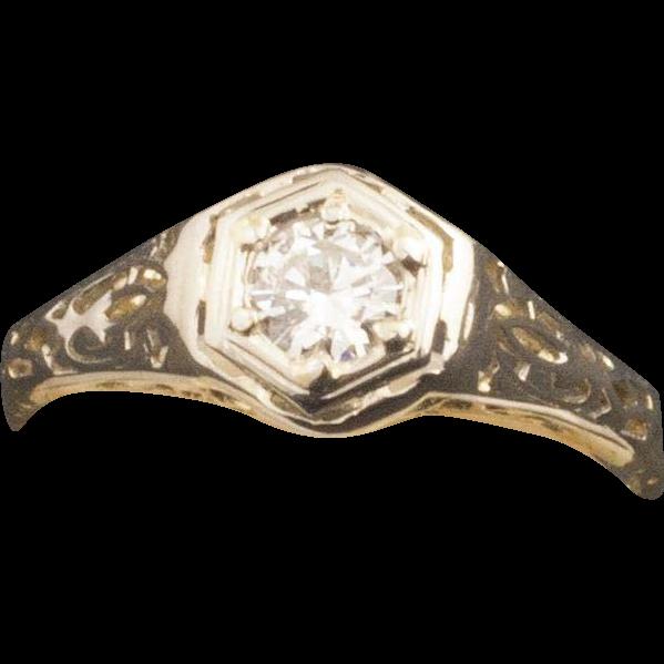 Antique Edwardian 14 Karat Gold Diamond Ring from 24kgreen on Ruby Lane