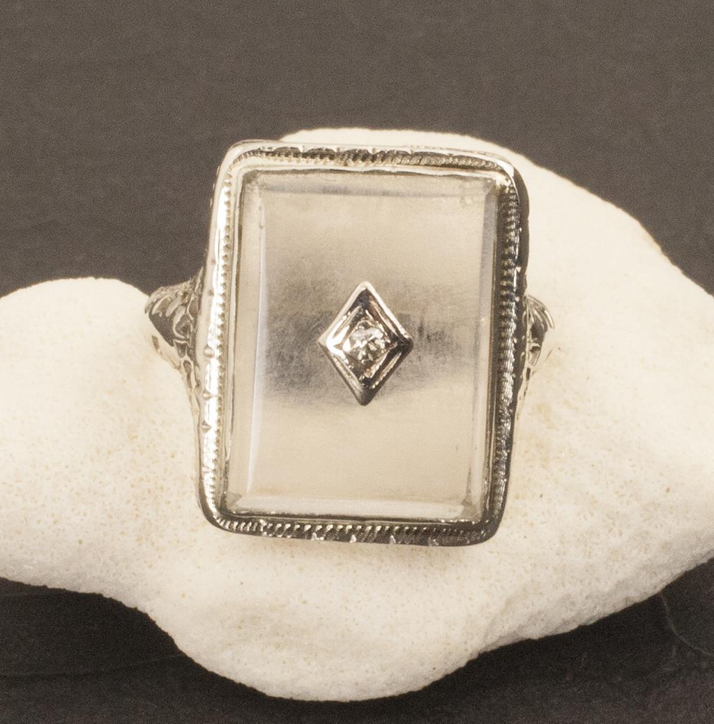 Vintage Art Deco 14 Karat Gold Diamond Ring from 24kgreen on Ruby Lane