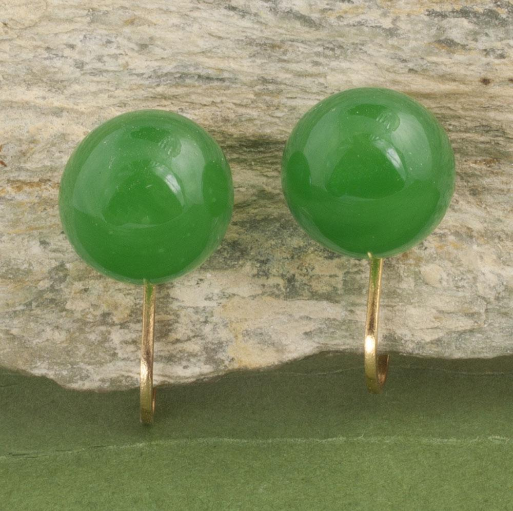 Vintage 14 Karat Gold Green Glass Earrings