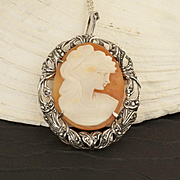 Vintage Sterling Silver Marcasite Cameo Necklace