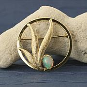 Vintage 14 Karat Gold Opal Pin