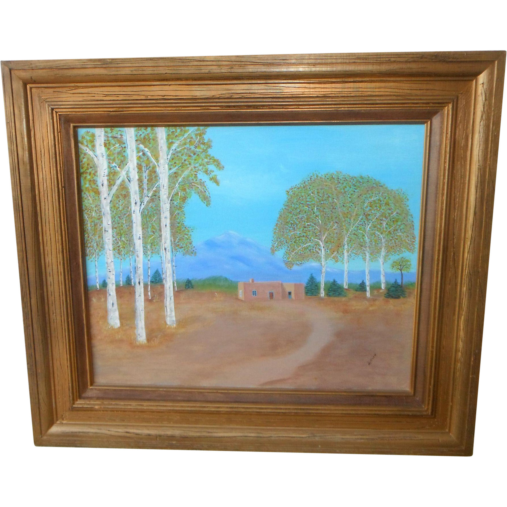 Taos New Mexico ~ Majestic Mountains ~ Southwestern Birch and Adobe Original Oil Painting Signed ~ Lillian